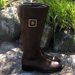 Tory Burch Fig Brown Julian Riding Boots